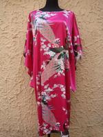 Promotion Hot Pink Vintage Women S Silk Nightwear Printed Lounge Bathrobe Classic Kimono Gown Charming Homedress