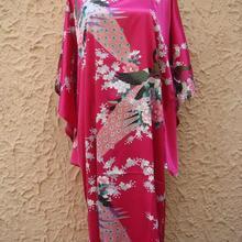 Promoción Hot Pink Vintage ropa de noche de seda para mujer estampado Lounge Albornoz clásico Kimono vestido encantador Homedress talla única