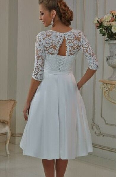 Vestidos De Noiva Custom Made Vintage Style Half Sleeve Lace Satin Tea Length Short Wedding Dresses Mid Calf Bridal Gowns In From Weddings