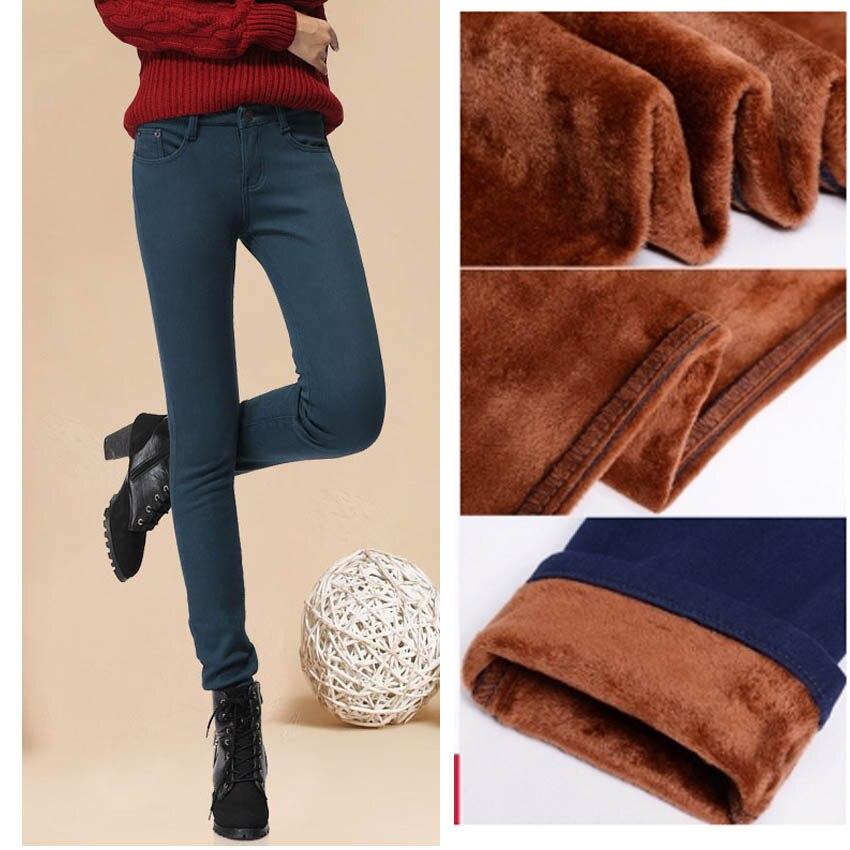 Winter Female Casual Slim Velvet long jeans Elastic Warm Pencil Pants Women Skinny Jean pants With Velvet Capris for girl