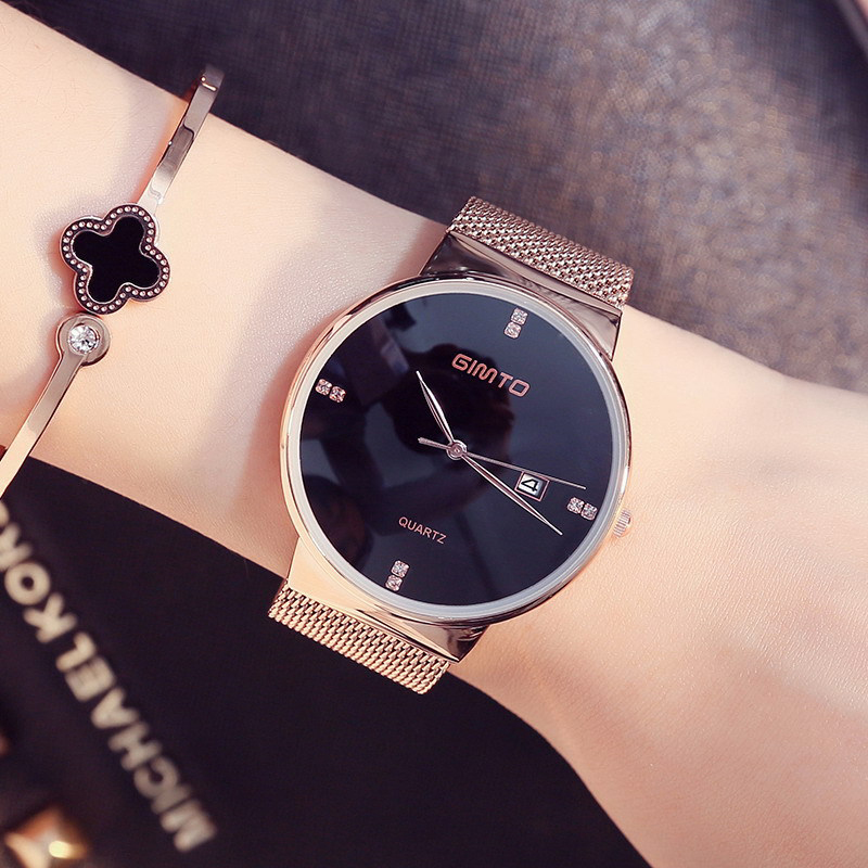 GIMTO Top Brand Fashion Women Watch Bracelet Mesh Band Quartz Wristwatch Waterproof Thin Clock Relogio Feminino Montre Femme 49 misscycy lz the 2016 new fashion brand top quality rhinestone men s steel band watch quartz women dress watch relogio feminino
