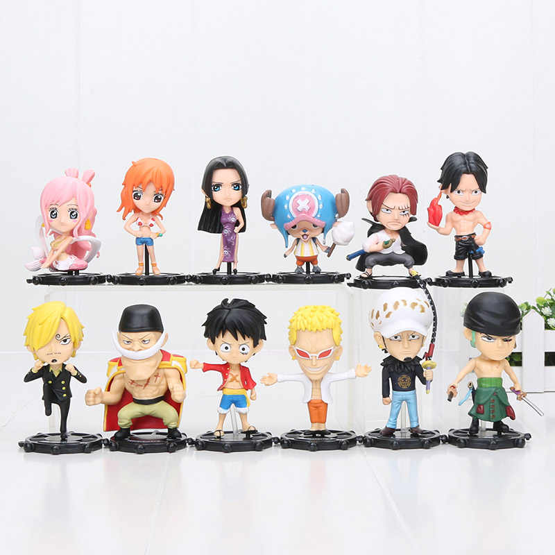 6 pçs/set One Piece Luffy Sanji Zoro Trafalgar Law Edward Newgate Donquixote Doflamingo PVC Action Figure Toy Modelo