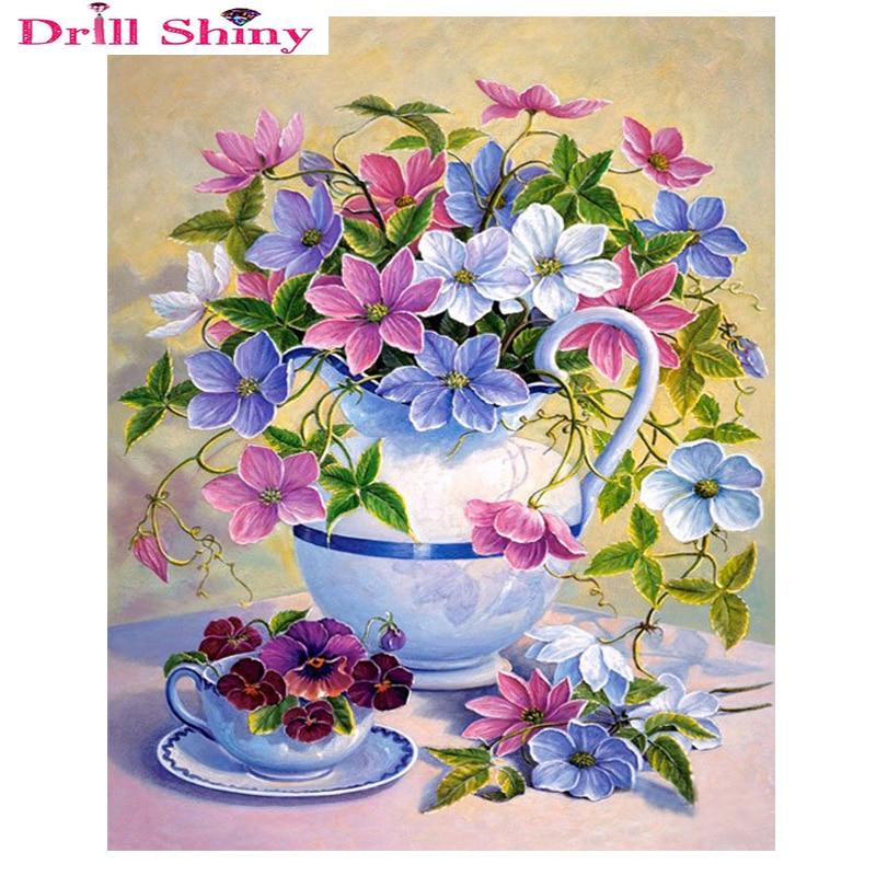 Broca el jarrón de flores brillante bordado de diamantes floral 3d - Artes, artesanía y costura