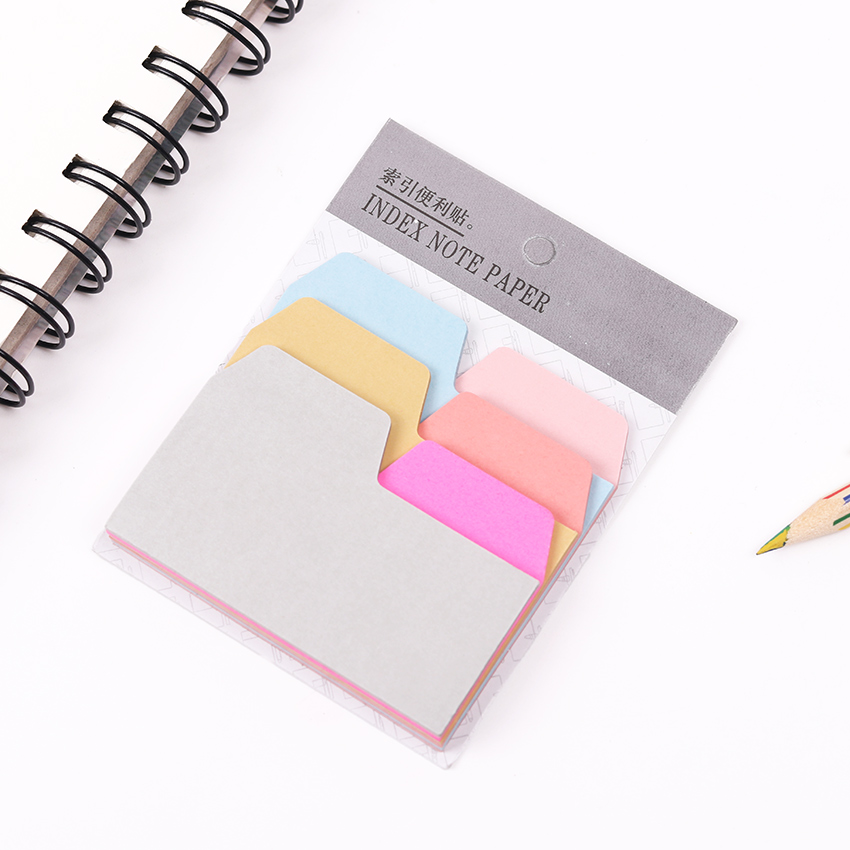 1PC 6 Color Index Note Paper Card Sticker Cute Sticky Note Memo Pad for School Office Supplies Stationery Bookmark 1 pcs 7 10 colors pet 20 sheets per color index tabs flags sticky note for page marker stickers office accessory stationery