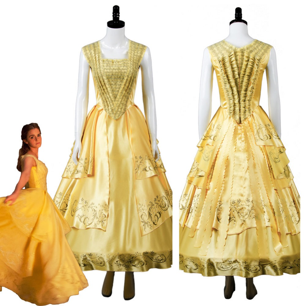 Adult 2017 Movie Beauty and the Beast Belle Emma Cosplay Costume Yellow Gown Dress Halloween Carnival Party Fancy Dress