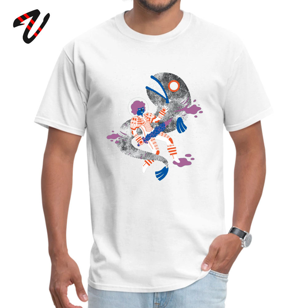 Men's Tshirts SPACE FISH Cool T Shirt Pure Cotton Round Neck Short Sleeve Custom Top T-shirts Father Day Drop Shipping SPACE FISH 3809 white