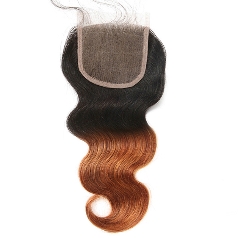 Ombre 4X4 Lace Closure Brazilian Body Wave Hair Closure With Baby Hair 1B/30 Free Part 1 ...