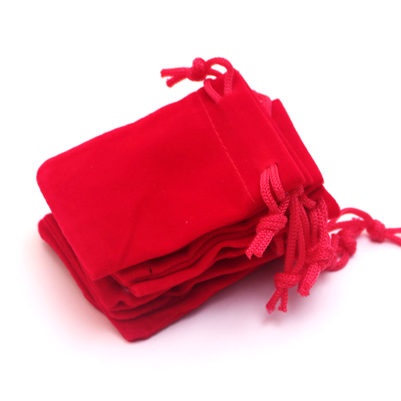 10Pcs/Lot Red Velvet Drawstring Jewellery Gift Bags Pouches HOT 3.1x3.9