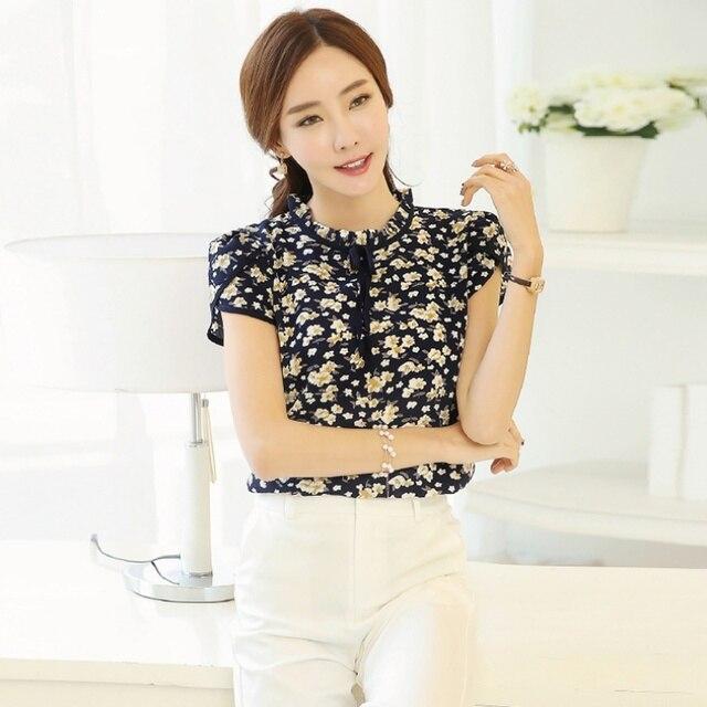 70f3668cf501a Jlong 2018 Women Shirts Short Sleeve O-Neck Chiffon Bowknot Summer Blouses  Tops feminine blouses