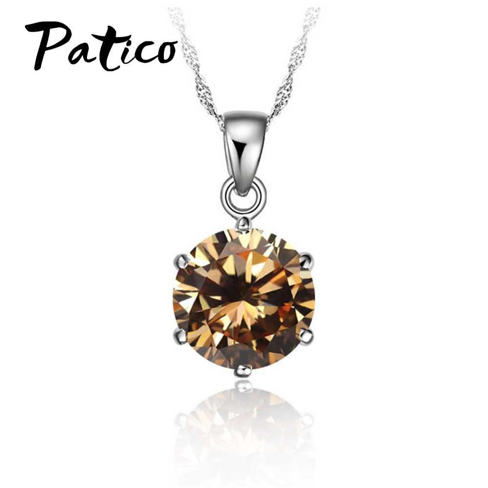 Najtańszy!!! 925 Sterling Silver naszyjnik kobiety biżuteria ślubna 6 pazur wisiorek z cyrkonią w kształcie kostki zaręczyny