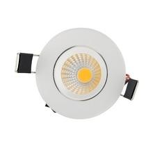 Высокая яркость COB led светильник 3 Вт белый корпус AC110 ~ 220 В прожектор потолочный теплый/холодный белый Бесплатная доставка