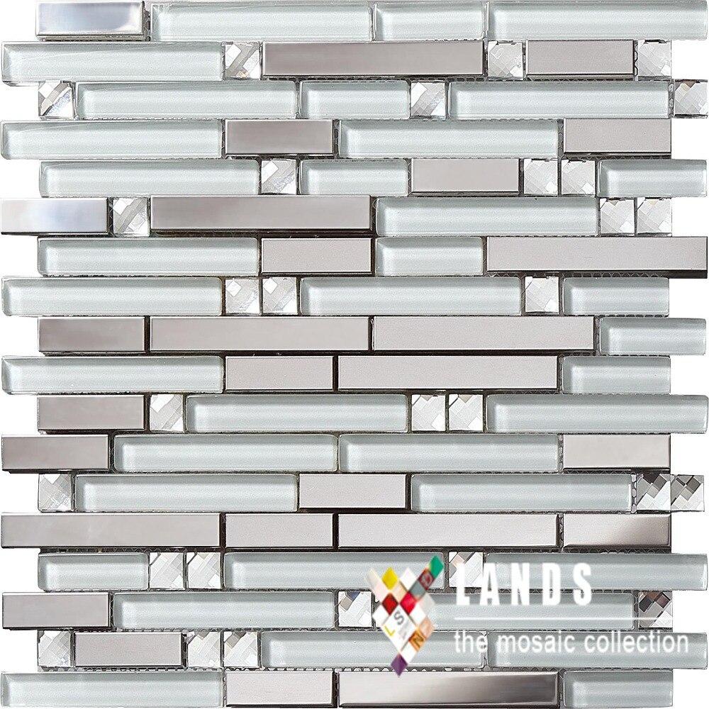 online get cheap stainless steel wallpaper aliexpress com 3d crystal glass metal mosaic stainless steel backsplash tiles for kitchen bathroom shower home wall diy