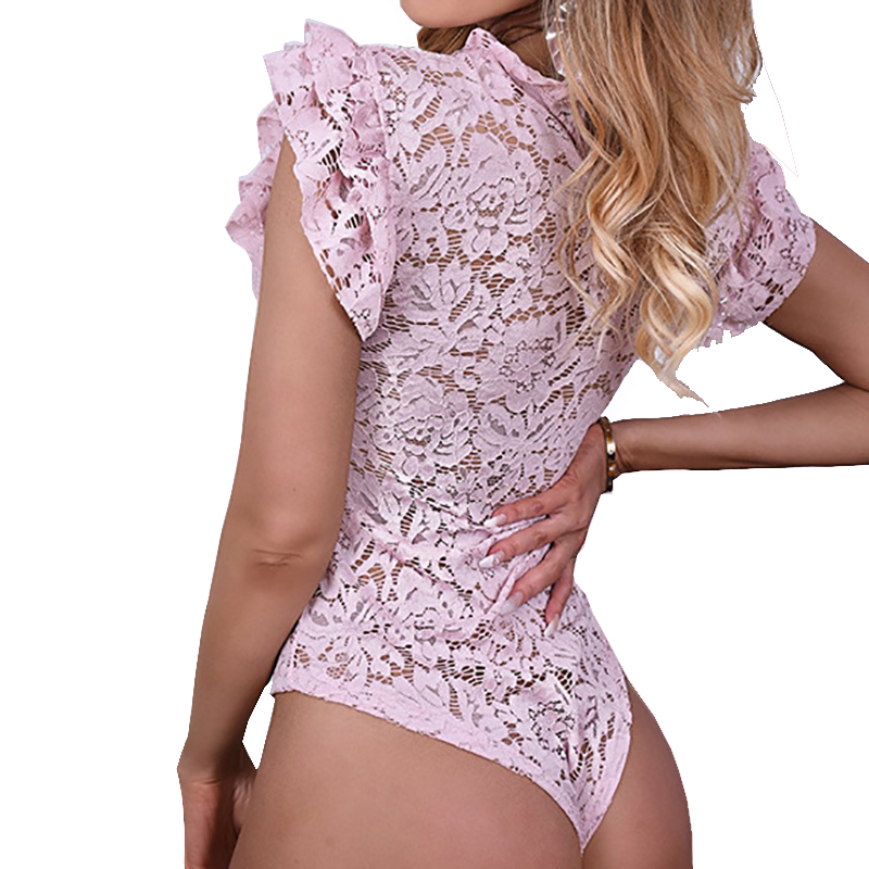 Sexy Erotic Romper Overalls Women Hollow Out Lace Bodysuit Feminino Ruffles Short Sleeve Body Suits Tops Skinny Party PL233G