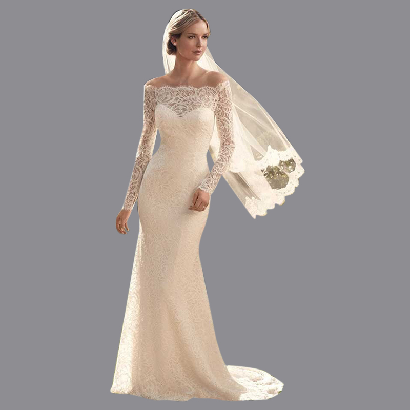 Online buy wholesale simple bride dress from china simple for Boat neck long sleeve wedding dress