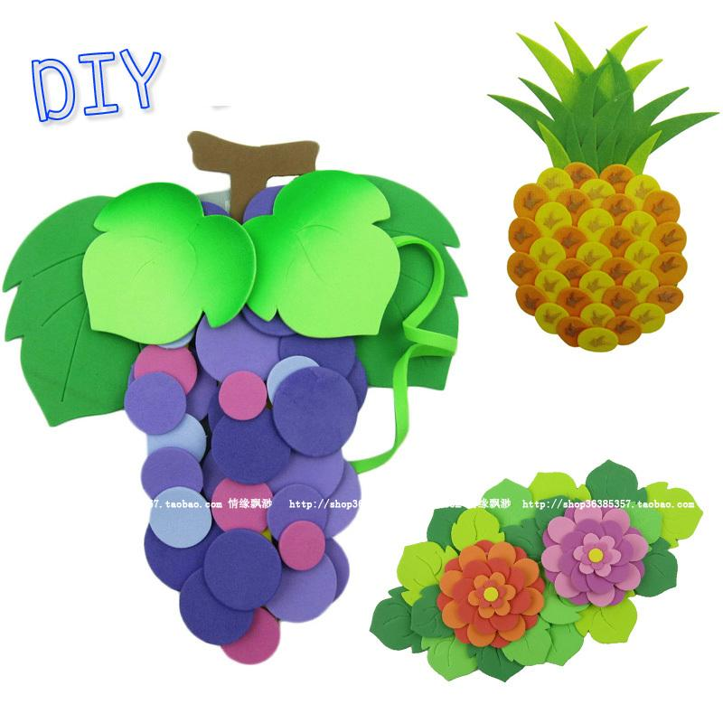 4pcs EVA sticker production for flowers fruit toys/ Kids Child EVA 3D stickers for grape pineapple flowers craft educational toy