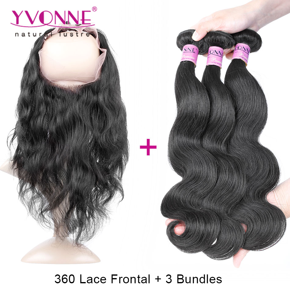 ФОТО 360 Lace Frontal Closure with Bundles, 3Pcs YVONNE Brazilian Body Wave Virgin Human Hair Bundles With 360 Closures