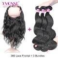 360 Lace Frontal Closure with Bundles, 3Pcs YVONNE Brazilian Body Wave Virgin Human Hair Bundles With 360 Closures