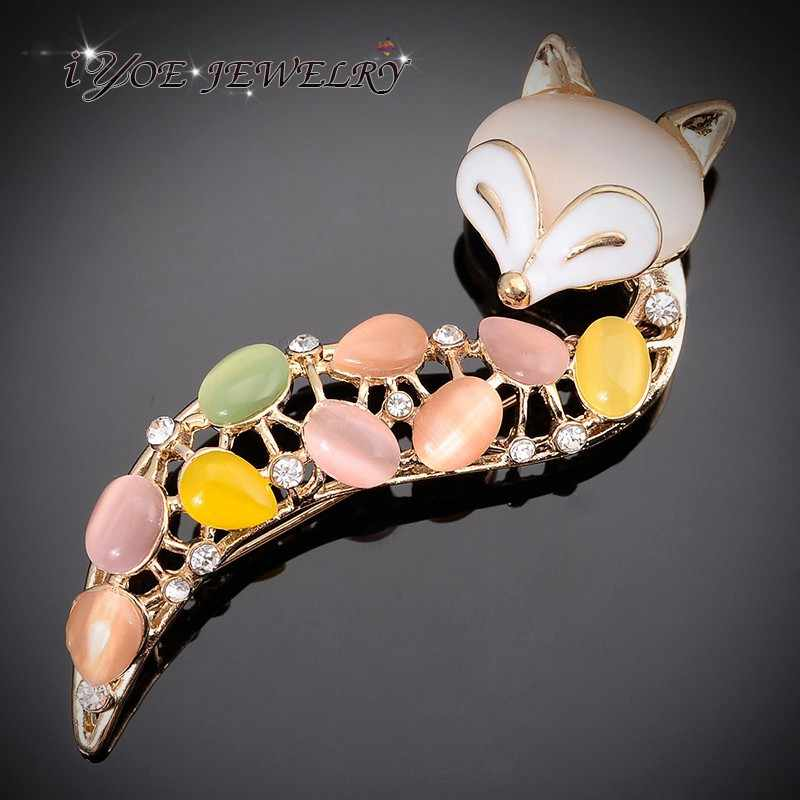 Iyoe Emas Warna Multiwarna Batu Opal Fox Bros untuk Wanita Hewan Lucu Berlian Imitasi Kristal Bros Pin Fashion Perhiasan