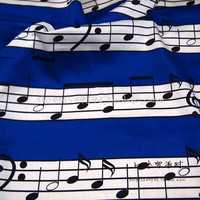 1pc 140x50cm 100 Cotton Fabric Satin Cloth DIY Tissue Patchwork Telas Blue Music Symbol Printed For