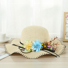 Women Big Wide Brim Straw Hat Flower Decoration Beach Sun Foldable Cap Hot Sale Summer Casual Vacation cap Y703