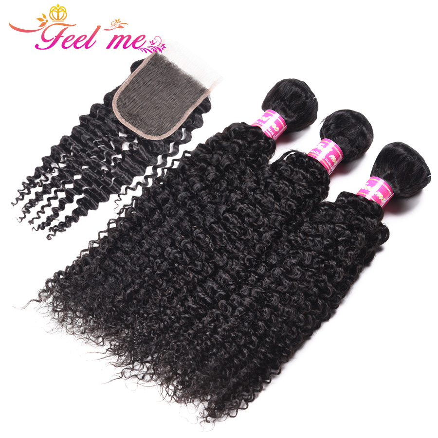Feel Me Indian Hair Bundles With Closure 4*4 Lace Free Part Kinky Curly Human Hair Weave 3 Bundles With Closure Non Remy Hair