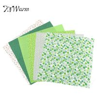 KiWarm 6pcs Green Floral Pattern Thin Cotton Fabric Patchwork For Sewing Scrapbook Cloth Quilt Needlework DIY