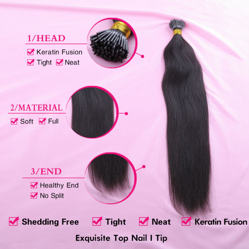 I Tip Human Hair Extension Stick Brazilian Keratin 1 Gram Prebonded Fusion 16 30 Inches Easy Remove Alivera Remy In Extensions
