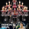 15 cabeças lustres de cristal lustre de Luxo Sala de estar Roxo vermelho do candelabro de cristal Lâmpadas Penduradas lustre De Casamento