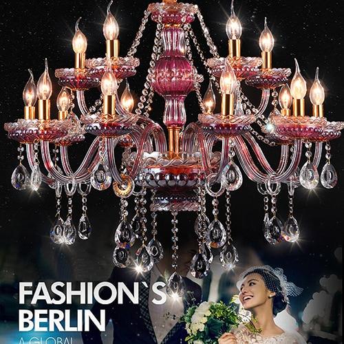 15 heads lustres de cristal chandelier Luxurious Living Room Purple red crystal chandelier Hanging Lamps Wedding