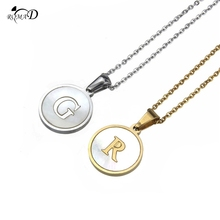 Women Necklace Stainless Steel 26 Letters Initial Necklace Gold Silver Tone Alphabet Disc Pendant Long Chain Necklace A30 stainless steel initial necklace rose gold alphabet disc pendant necklace initial jewelry for women girls