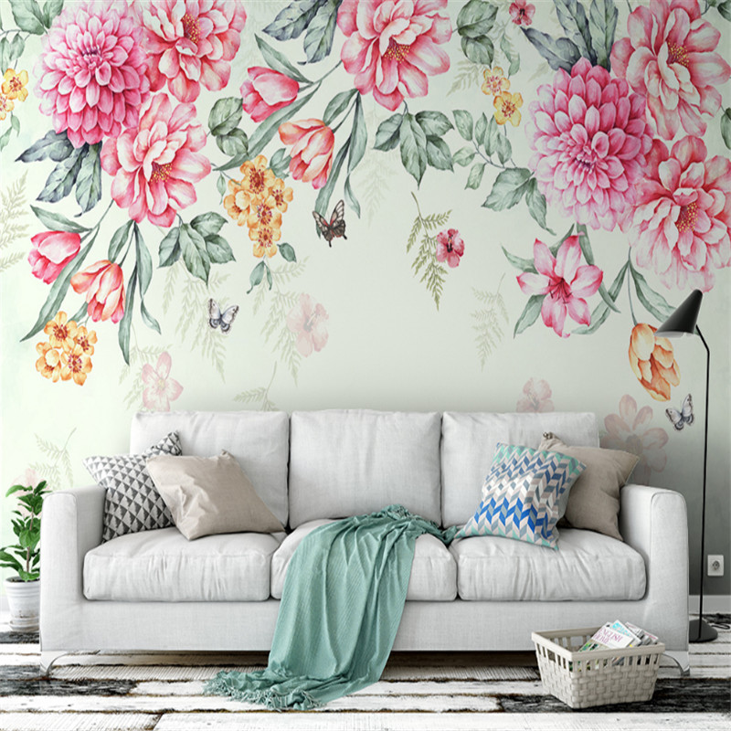 custom modern 3d picture mural wallpaper small and fresh modern plant flowers butterfly garden background wall painting louis garden artificial flowers fake rose in picket fence pot pack small potted plant