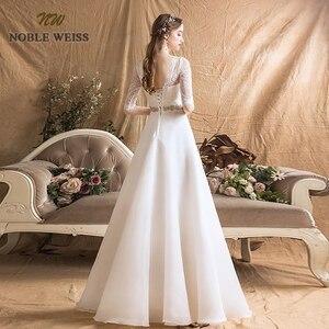 Image 2 - Áo Váy Organza Chữ A Đơn Giản Áo Cưới Gợi Cảm Tầng Chiều Dài Tất Cô Dâu Đầm Với Một Nửa Ren Váy Cưới