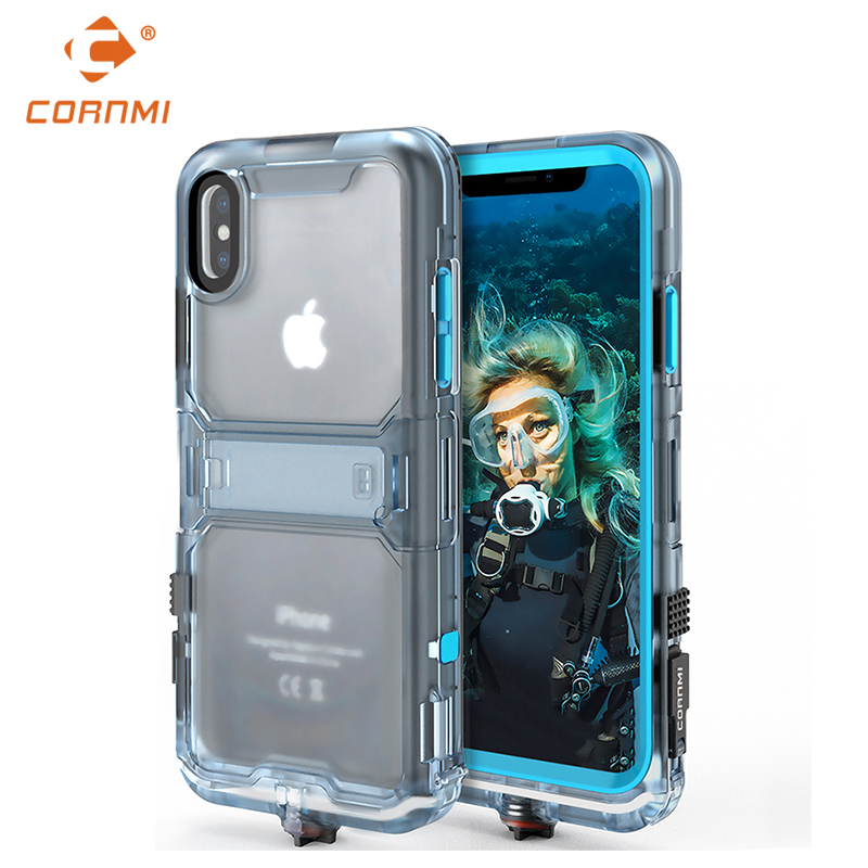 CORNMI Waterproof Phone Case For iPhone X Full Coverage Protective Cover Stand Holder PC TPE Silicone