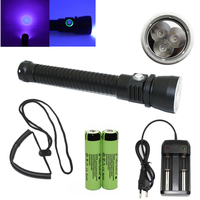 UV Flashlight 3x Ultraviolet Light Diving Light Waterproof UV Lamp 18650 Battery Charger For Find Scorpion