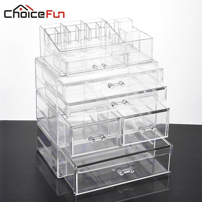 CHOICE FUN Large Makeup Organizer Multifunction Storage Box Acrylic Cosmetic Organizer Box 4 Drawers Makeup Storage