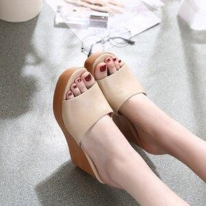 Image 5 - Morazora 2020 最高品質の本革サンダルの女性のファッションウェッジプラットフォームサンダルサマーパーティーウエディング靴女性のスリッパ