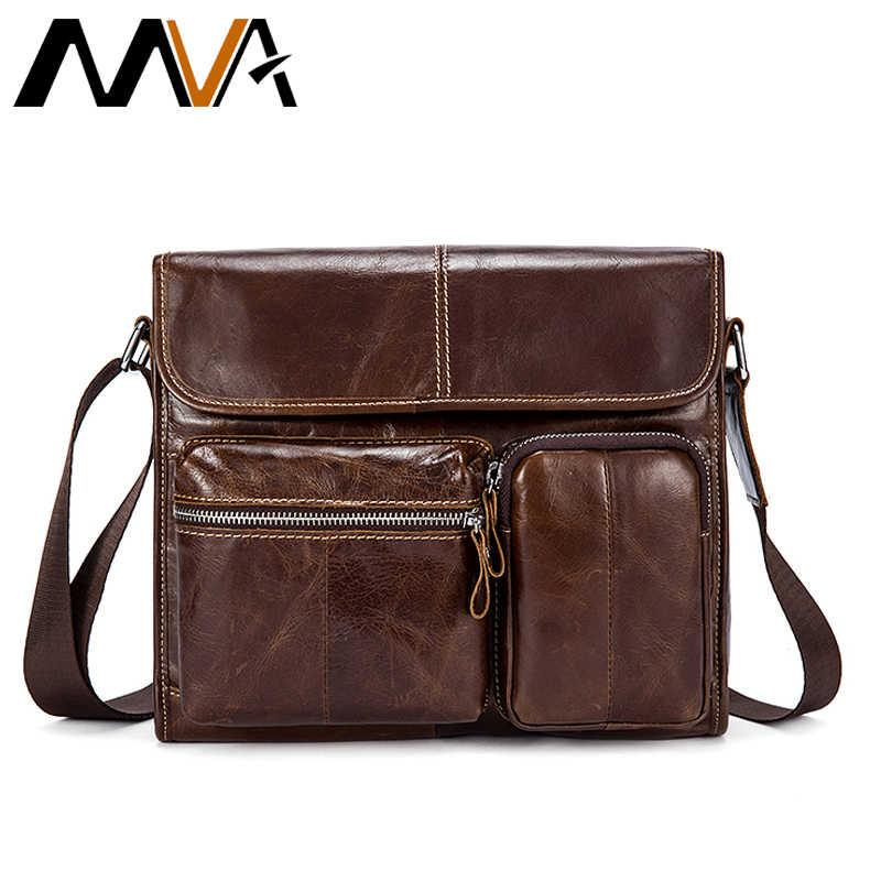 5ce0bbb05769 MVA Мужская сумка из натуральной кожи на плечо мужская сумка-мессенджер  мужская кожаная повседневная сумка