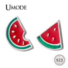 UMODE 2019 New Fashion 925 Sterling Silver Watermelon Stud Earrings for Women Cute Cartoon White Gold Jewelry Brinco ALE0570