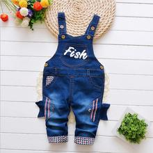 DIIMUU Toddler Baby Boy Cotton Casual Clothes Jeans Overalls Infant Boys Long Pants Children Elastic Waist Child Skinny Trousers