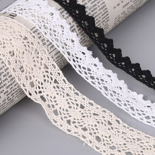 5Yard Beige/White/Black Cotton Crocheted Lace Ribbon For Sewing Decoration Craft Gift Packing Patchwork Cotton Ribbon(China)