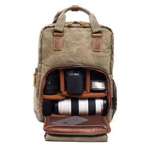 Image 3 - Batik wodoodporna płócienna lustrzanka cyfrowa plecak na akcesoria fotograficzne wytrzymały fotograf wyściełana torba na aparat fotograficzny do obiektywu Flash fit 15 Laptop