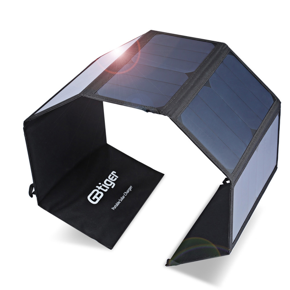 GBtiger Portable Sunpower Charging 40W Dual Outputs Solar Charger Panel Water Resistant Folding Bag For Outdoor long side bang slightly curly lace front synthetic wig