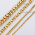 2/3/4/5mm Mens Boys Chain Womens Round Box Link Gold Plated Stainless Steel Necklace Customized Wholeasale Jewelry LKNM28