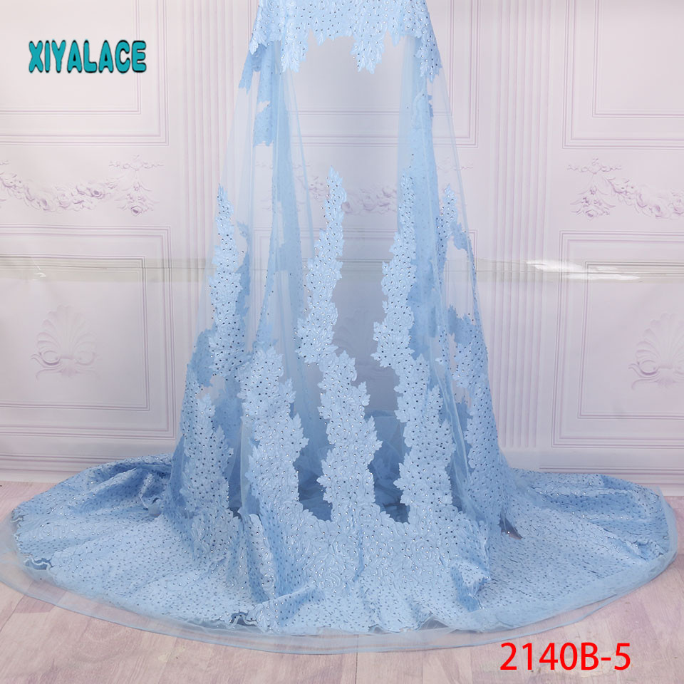 Nigerian Lace Fabric 2019 High Quality Lace Yellow African Lace Fabric With Stones Embroidery Lace Fabric For Weeding PGC2140B-2