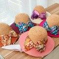 Бесплатная Доставка 2015 Лето Корейской Моды Старинные Лук Заклинание Цвет сложенный Красный Синий Соломенная Шляпа Летние Шляпы для Женщин Вс шляпы