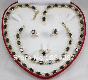 Новинка! Бесплатная доставка, черный Фианит, кольцо, браслет, серьги, ожерелье, комплект ювелирных изделий из нефрита