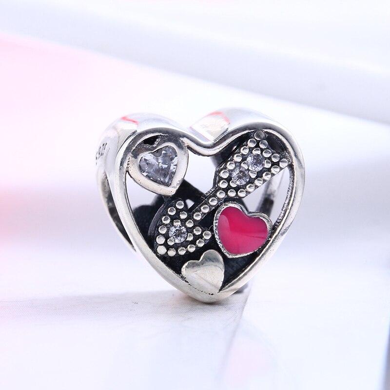 100% 925 Sterling Silver Fit Original Pandora Bracelet Struck By Love Magenta Enamel & Clear CZ Beads for Jewelry Making Gift