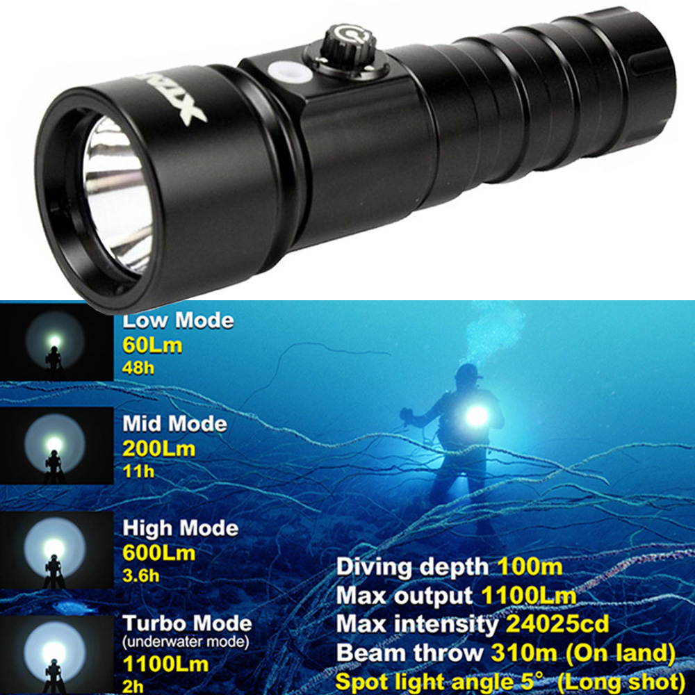 XTAR linterna de buceo 4 1100 lúmenes modo luz LED linterna táctico D26 lámpara subacuática
