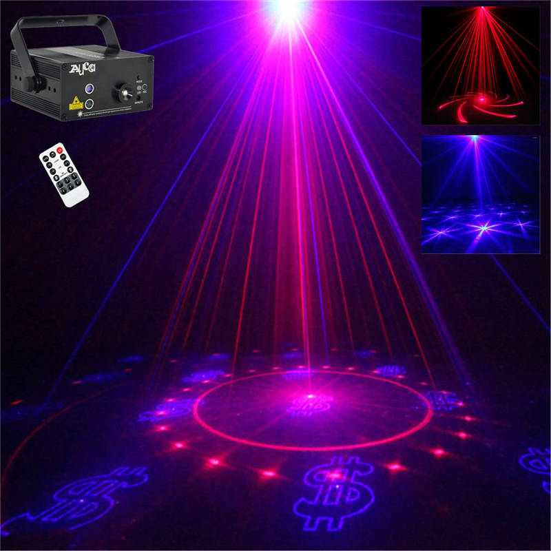 AUCD 2 Lens * 20 RB Patterns Laser Mixed 3W Blue LED Effect Projector DJ Club Party Xmas Show Stage Lighting AZ40RB 3 lens 36 patterns rg blue mini led stage laser lighting professinal dj light red gree blue