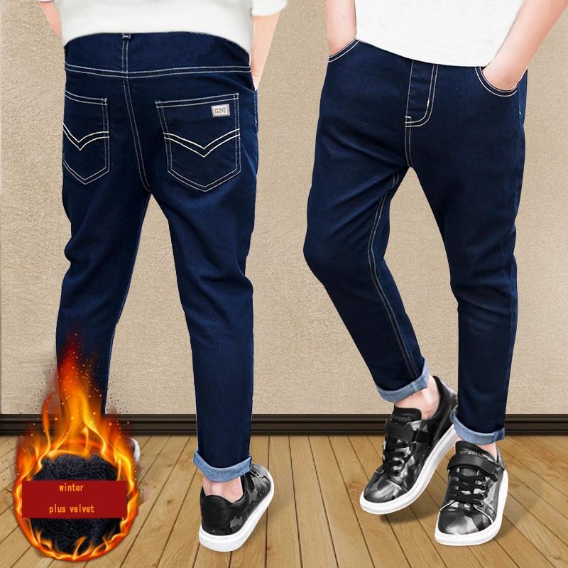2017 Otoño Invierno de los pantalones vaqueros espesar pantalones para  niños cintura elástica pantalones del demin de los niños marca casual jeans 820eb5db6d2a